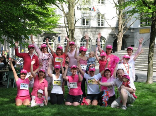 """Pink ladies"" strike a pose on race day."