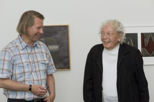 Museum director Peter Fischer with artist Hans Erni, who is 100.