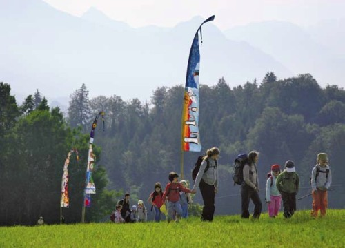 School children walk a portion of Lucerne's new climate trail.