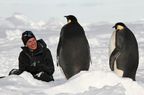 Swiss researcher Katherine Leonard with emperor penguins near Breid Bay, Antarctica. For an upcoming EPFL project as part of ACE, she will study Southern Ocean salinity. (©Olivier Pierre )
